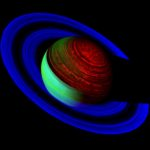 "A false-color image of Saturn taken by the Cassini Spacecraft showing the ""glow"" of Saturn at infrared wavelengths. Credit: NASA/JPL/University of Arizona.  Image available at this link: http://saturn.jpl.nasa.gov/photos/imagedetails/index.cfm?imageId=2625"